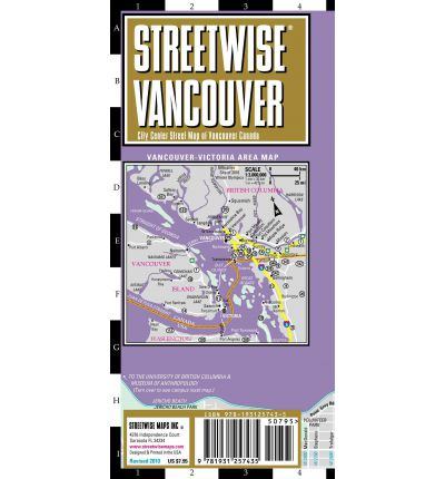 Streetwise Vancouver Map - Laminated City Center Street Map of Vancouver, Canada